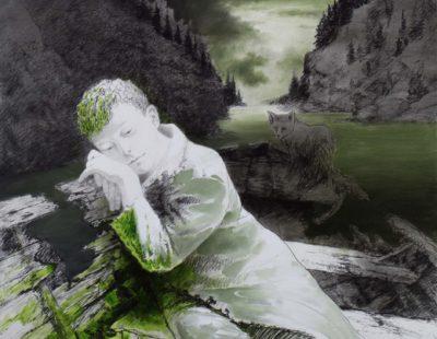 Künstler Igor Oleinikov - Lotze-50x65-ÖlBleistift-auf-Papier-2016 - Galerie Hegemann