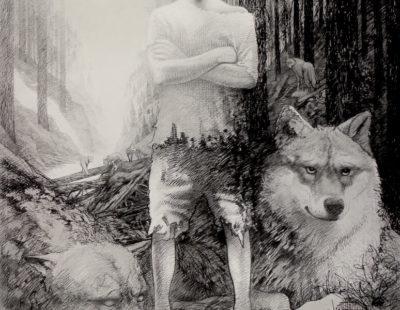 IGOR OLEINIKOV Wächter, 2020, Öl, Bleistift auf Leinwand, 240x190 cm - GALERIE HEGEMANN