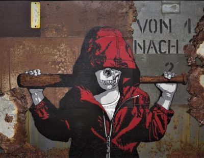 Alias, Teenage Riot, 2016, Mixed Media auf Metall, 68 x 99 cm - Galerie Hegemann