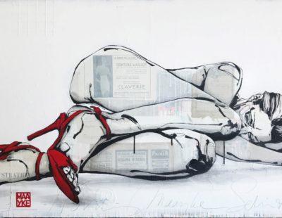 Maayke Schuitema, NOVA, 2017, Mixed Media auf Leinwand, 80 x 150 cm - Galerie Hegemann