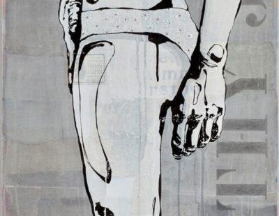 Maayke Schuitema, Reserve thy Judgement, 2017, MIxed Media auf Leinwand, 55 x 200 cm - Galerie Hegemann