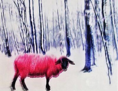 PAUL THIERRY Das rote Schaf, 2016, Mischtechnik auf Leinwand, Acrylglas, 50 x 50 cm - Galerie Hegemann