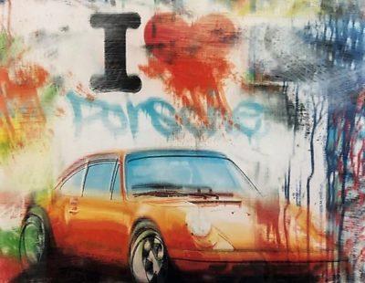 PAUL THIERRY, I love Porsche, 2017, MT auf Leinwand, Acrylglas, 50 x 50 cm - Galerie Hegemann