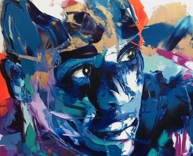 FRANÇOISE NIELLY, Cameron, 2019, Fine Art Print auf Leinwand, Kunstharz, 120 x 120 cm - Galerie Hegemann