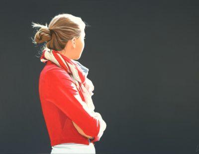 SABINE LIEBCHEN, Alisa in roter Jacke, 2019, Lithographie, 61 x 100 cm - Galerie Hegemann