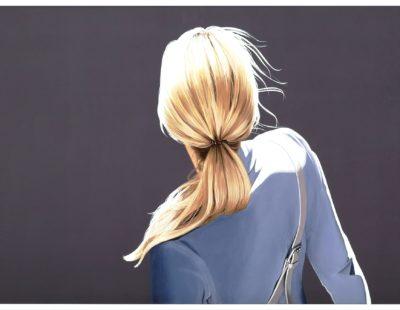 SABINE LIEBCHEN, Mädchen mit blauer Jacke, 2019, Lithograohie, 61 x 100 cm, Auflage 40 - Galerie Hegemann