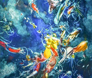 GERHARD NEUMAIER Im Wasserpapalst wo die Sonne scheint, 2019, Öl auf Simopor, 100 x 100 cm - Galerie Hegemann