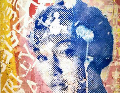 PATRIZIA CASAGRANDA Blue Relief, 2019, Collage, Mischtechnik auf Leinwand, 114 x 80 cm - Galerie Hegemann