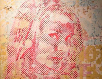 PATRIZIA CASAGRANDA Pink Relief, 2019, Collage, MIschtechnik auf Leinwand, 100 x 130 cm - Galerie Hegemann