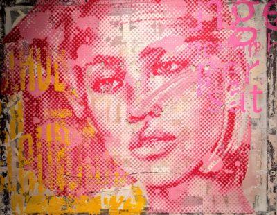 PATRIZIA CASAGRANDA Pink Relief, 2019, Collage, Mischtechnik auf Leinwand, 86 x 108 cm - Galerie Hegemann