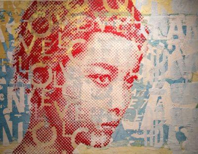 PATRIZIA CASAGRANDA Red Relief, 2019, Collage, Mischtechnik auf Leinwand, 95 x 143 cm - Galerie Hegemann