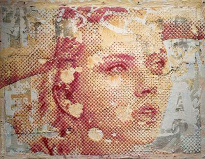 PATRIZIA CASAGRANDA Scarlett, 2019, Collage, Mischtechnik auf Leinwand, 143 x 102 cm - Galerie Hegemann