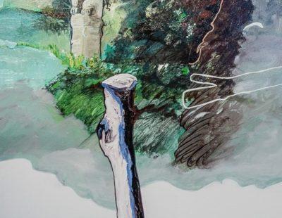 UDO DZIERSK Friede in Stein geformt, 2017, Öl auf Leinwand, 90 x 70 cm - Galerie Hegemann