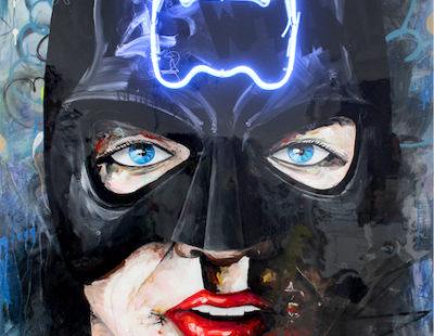 PEINTRE X Batman, 2020, Acryl auf Leinwand, Neon, 160x120 - GALERIE HEGEMANN
