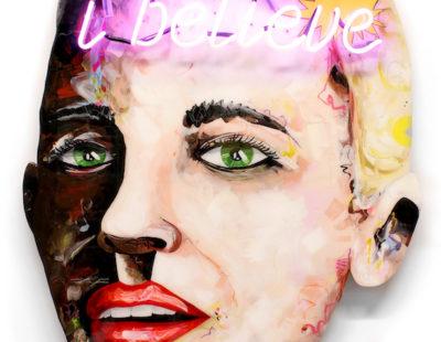 PEINTRE X Believe, Mischtechnik auf Leinwand, Neon, 118x84 cm - GALERIE HEGEMANN