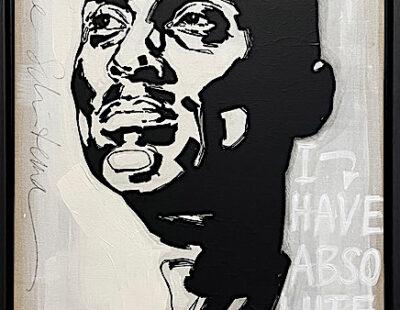 Maayke Schuitema, Kobe Bryant, 2020, Linolschnitt, Acryl auf Leinwand, 63x43 cm - GALERIE HEGEMANN