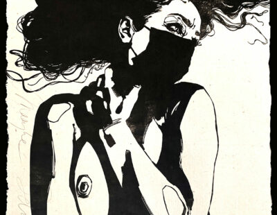Maayke Schuitema, Saved, 2020, Linolschnitt auf Butanpapier, 94x63 cm - GALERIE HEGEMANN