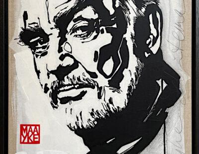 Maayke Schuitema, Sir Sean, 2020, Linolschnitt, Acryl auf Leinwand, 63x43 cm - GALERIE HEGEMANN