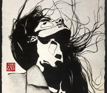 Maayke Schuitema, Toughts, 2019, Linolschnitt auf Butanpapier, 94x63 cm - GALERIE HEGEMANN