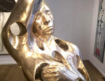 Toon Tullemans, Internalized, 2020, Bronze mit Stahlsockel, 173 cm - GALERIE HEGEMANN
