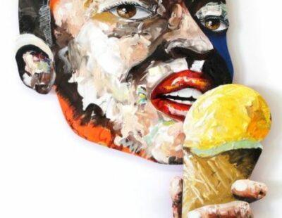 Peintre X, Eis III, 2021, Acryl, Pastell, Resin auf Holz, 173 x 112 cm - Galerie Hegemann