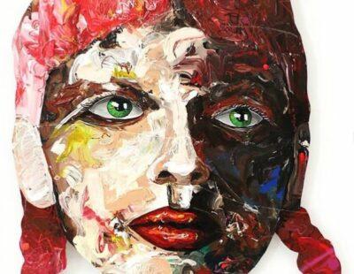 Peintre X, Red hair girl, 2021, Acryl, Ölpastell, Resin auf Holz, 124 x 88 cm - Galerie Hegemann